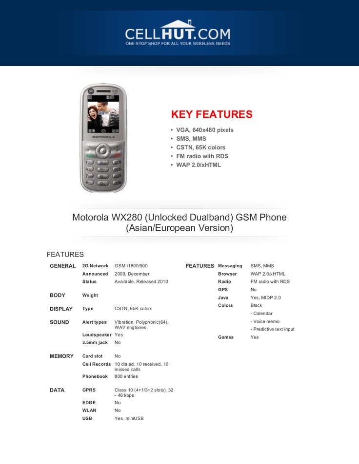 motorola-wx280-unlocked-gsm-phonefeaturesspecificationat-cellhut by Cellhut via Slideshare
