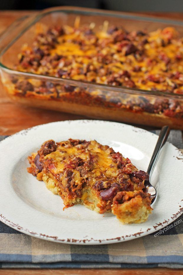 This Chili Cornbread Bake is lightly sweet and spicy and the perfect lightened up comfort food. Just 293 calories or 9 Weight Watchers SmartPoints! www.emilybites.com