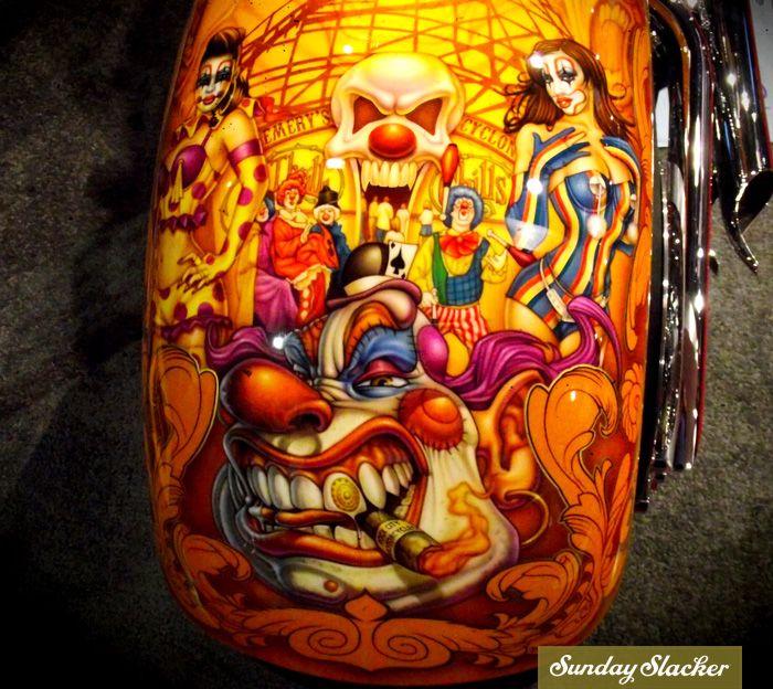 Sema Show 2011 #motorcycle #custom #paint #mural Sunday Slacker Magazine: Pinstripinglowbrow Art, Airbrush Tattoo, Paintings Job, Airbrush Art, Custom Airbrush Motorcycles, Pinstriping Lowbrow Art, Paintings Murals, Custom Paintings, A Tattoo