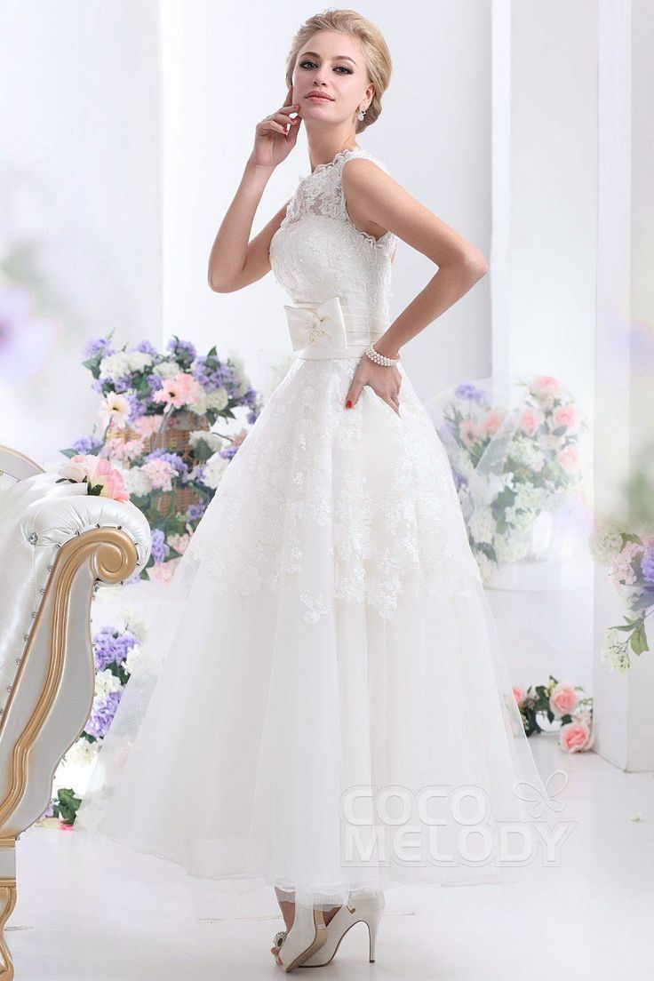 Pretty A-Line Illusion Natural Ankle Length Tulle and Lace Ivory Sleeveless Zipper Wedding Dress with Appliques Bowknot and Sashes CWZA14001