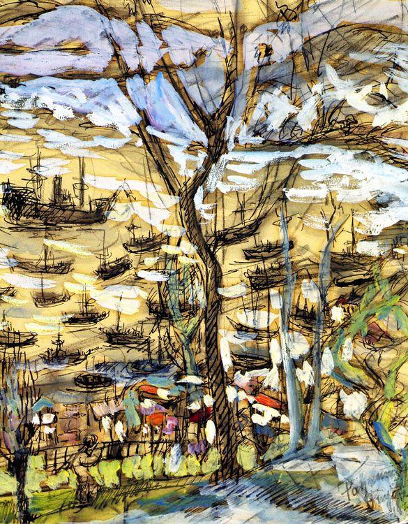 intro-1946 Fahrelnissa Zeid , ilk kadınlardan biri İstanbul'da Güzel Sanatlar Akademisi'nde okudu olması. Paris'in Okulu soyut bir ressam olarak yer alıyor. o Nejad Melih Devrim Şirin'e ve sanatçıları tanınan iki doğurdu ilk evliliğinden 1934 yılında Prens Zeid el Hüseyin ile evlendi. Büyükdere Kış d kağıt üzerine kalemle Essin 39 x 27 cm - Koleksiyon Şen Yalman