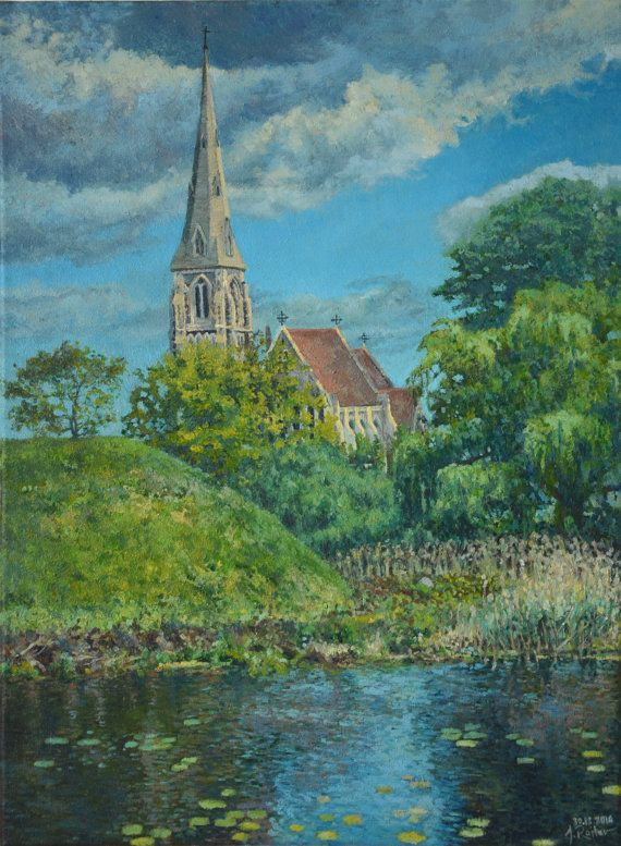 View of St. Alba Church in Copenhagen impressionist oil by JRajtar