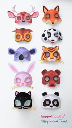 Fantastic printable animal masks by Happythought! Bear, bunny, cat, dog, fox, koala, owl, panda, deer and tiger masks! #printables #masks #crafts happythought.co.u...