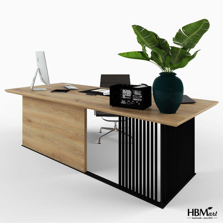 Рабочий стол GRAF OFFICE BLACK от HBMart. Выполнен из окрашенного металла и массива дуба, с покрытием из льняного масла и воска.
