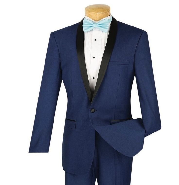 Men's Blue Slim-Fit One Button Formal Tuxedo Suit NEW w/ FREE Shipping #suits #menswear #tuxedo #wedding #prom