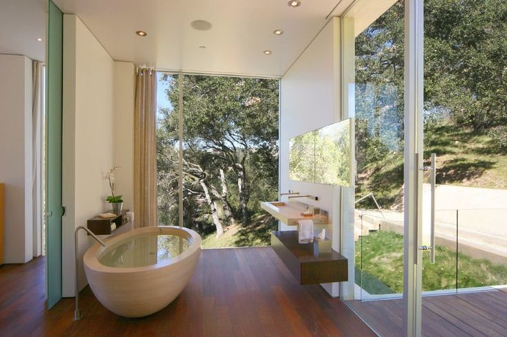 Bathroom:Oakpass House Bathroom Bathtub With Natural Outdoor View Tropical Bathtub With Nature View Most Beautiful Bathtubs with a View of N...