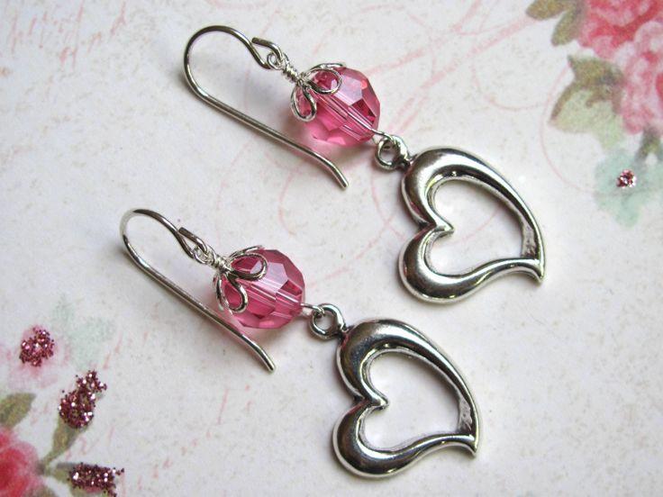 Sterling Heart Earrings   Valentine Earrings Swarovski Crystals Sterling  Silver Floating Heart Charm