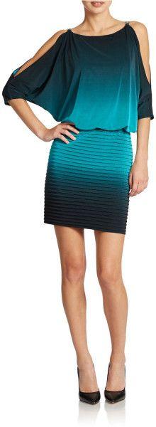 Xscape Split Dolman Sleeve Ombre Dress in Teal (Teal/Black) $81 T4