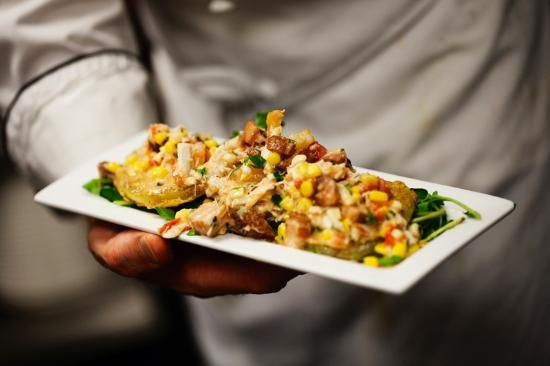 Food at Halls Chophouse (76889328) #4. the fried green tomatoes w/crab and pork belly. Oh, yeah-