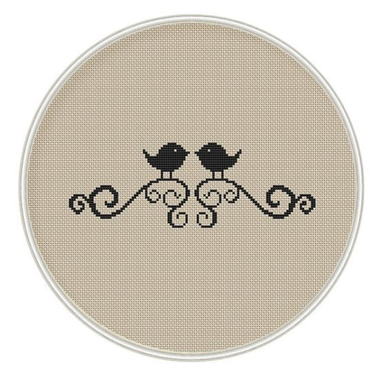 Bird Cross stitch pattern, cross stitch bird, cross stitch PDF, silhouette cross stitch, MCS052