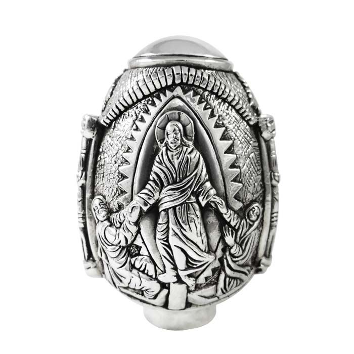The Silver Easter Egg, made of precious materials with elaborate carving, combines the symbolic element with fine aesthetics. Silver in its purest form 999°, gives a simple beauty. It is a masterpiece of silversmithing. Dimensions: 6cm x 9,5cm Pure Silver 999°.