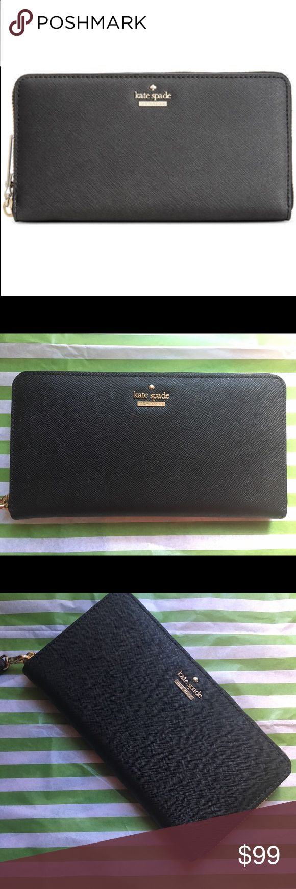 """Kate Spade Cameron Street Lacey Black New This Kate Spade Cameron Street Lacey Wallet is NWOT. Classic continental zip-around wallet has 12 credit card slots, 2 interior billfolds, 1 interior zip pocket and 1 exterior slip pocket. Stripe black and white interior lining. Dimensions approximately 7..6"""" x 4"""" x 0.8"""". kate spade Bags Wallets"""