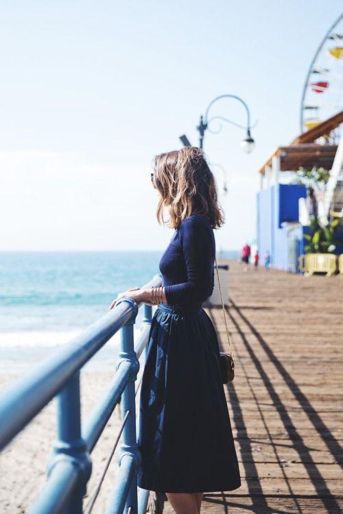 Navy Blue Long-Sleeve Tee, Midnight Blue Pleated Midi Skirt, Gold Bangles, Long Tousled Bob // boardwalk