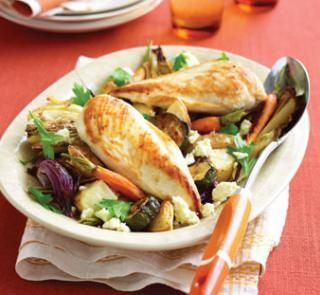 This isn't your average weeknight meal- the whole family will love it! Chicken with roast vegies and feta | Australian Healthy Food Guide