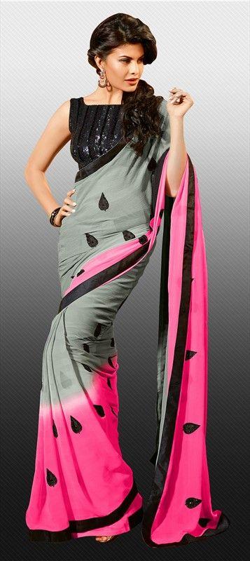 144567: #GetThisLook like actress #JacquelineFernandez.  #saree  #grey #Bollywood #dualtone