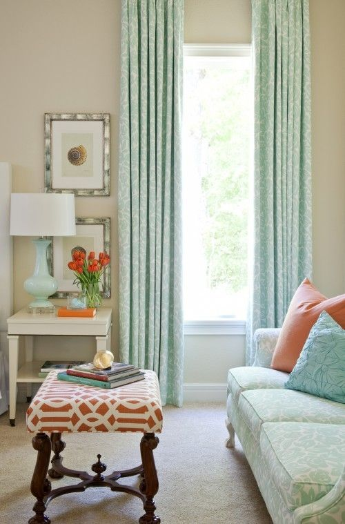 aqua and coral. I like this color scheme for the guest bedroom. make the couch a pullout and it's perfect!