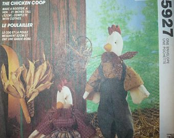 """Vintage McCall's Crafts Pattern 5927 for 21"""" Chicken and Rooster Dolls and Clothes"""
