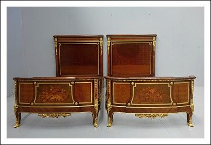 Letto matrimoniale gemelli bronzo dorato firmato francois Linke