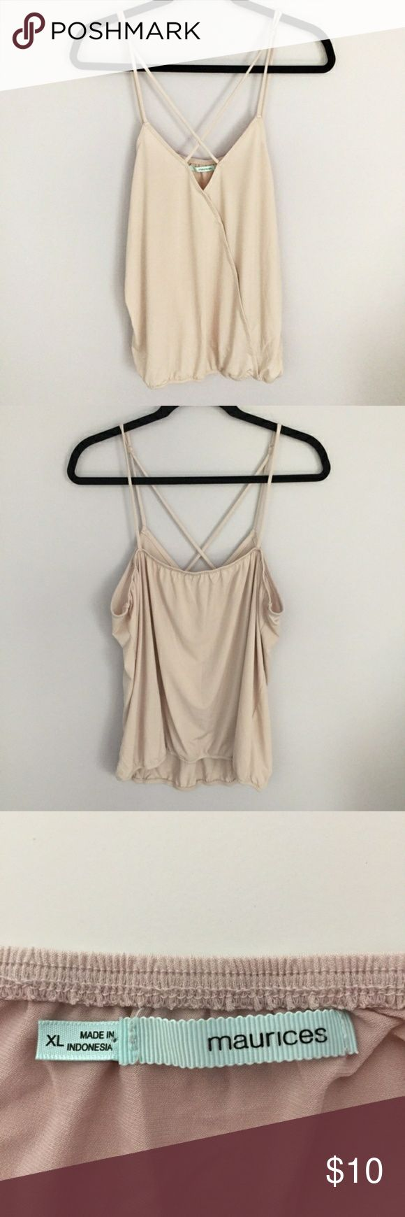 Maurices Size XL Cream CrissCross Strappy Top * In Like New Condition! * No Stains, Fabric Rubbing, or Wear. * Nude or Cream Colored. * CrissCross Criss Cross Wrap Style, Strappy Sleeveless Blouse Top * Very Sexy & Flattering! * Can be worn alone, on top of a plain shirt, or underneath a nice sweater or cardigan.  **Same or Next Day Shipping!** Maurices Tops Blouses