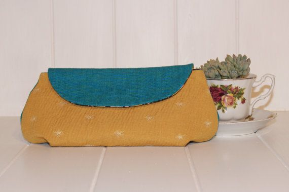 Handmade upholstery fabric clutch purse- upcycled materials