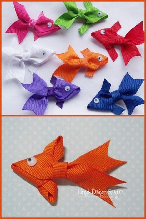 "DIY Ribbon Fish. Inspiration: I spotted this photo (top) and used google image search to find out it was from Etsy here. Apparently the hair clip was only $2.50, so why make it? But alas, as in so many Etsy cases, it's no longer for sale. But I loved this idea for a Holiday or birthday present and found a tutorial for it (so happy) at Love My Tapes here. Just glue a backing on and you're done. So cute. *Note: Etsy Clip made with 3"" Grosgrain ribbon fish attached to a 1 3/4"