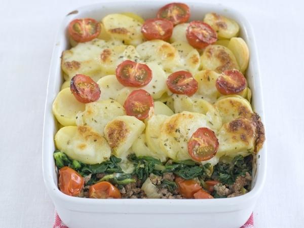 Spinazie-gehaktschotel met mozzarella