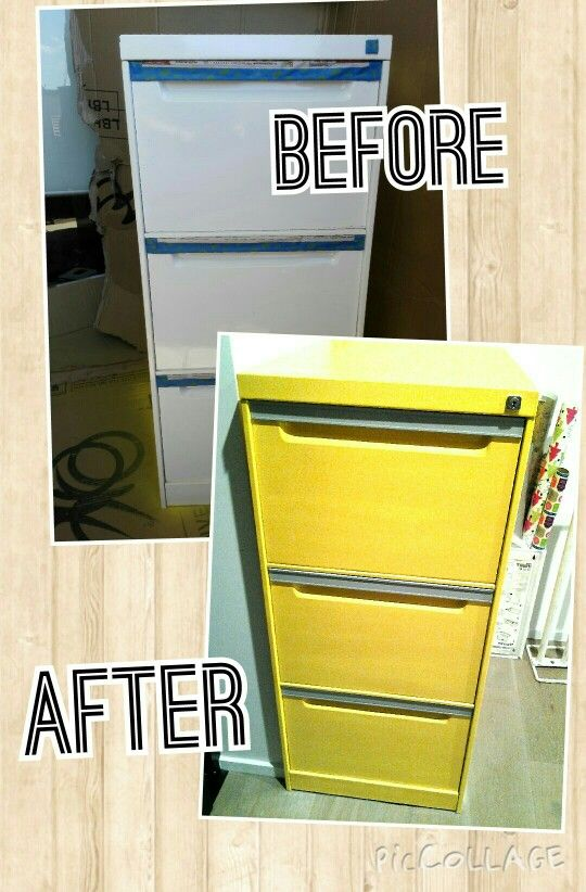 Refreshed and industrial style filing cabinet using yellow spray