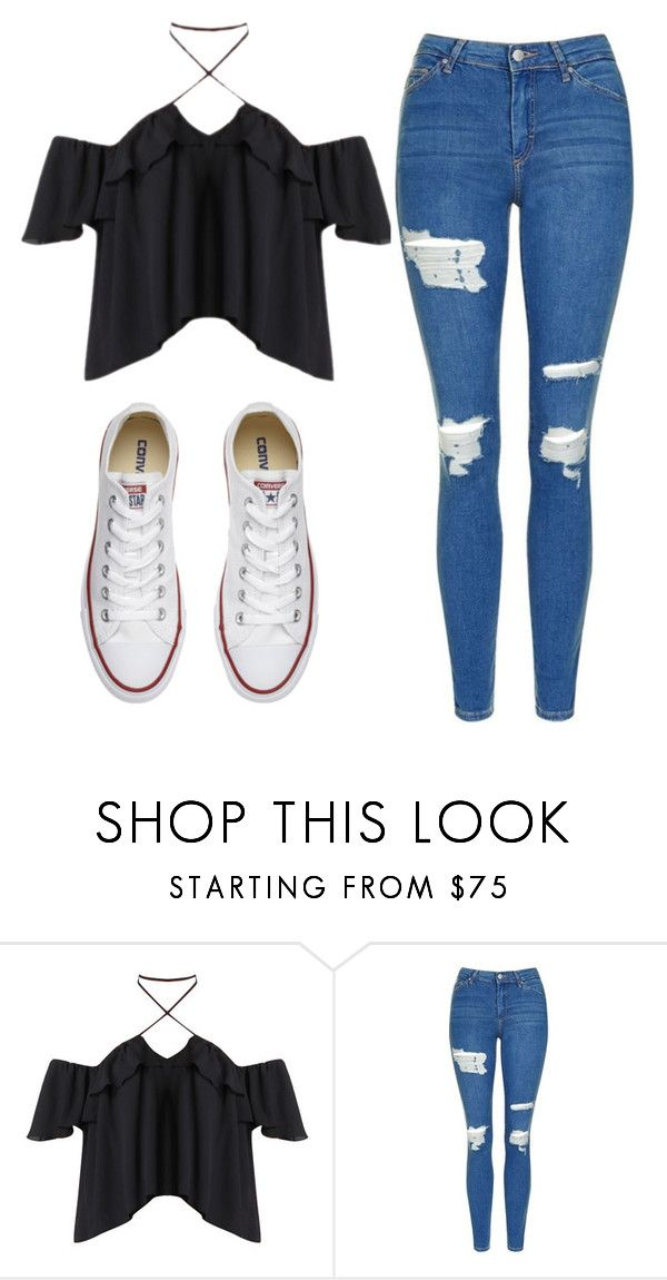 """Untitled #527"" by cuteskyiscute ❤ liked on Polyvore featuring Topshop and Converse"