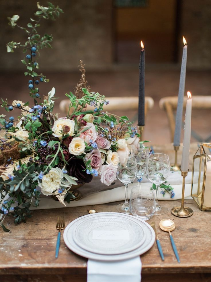 autumnal romantic rustic table setting taper candles   Photography: Simply Sarah
