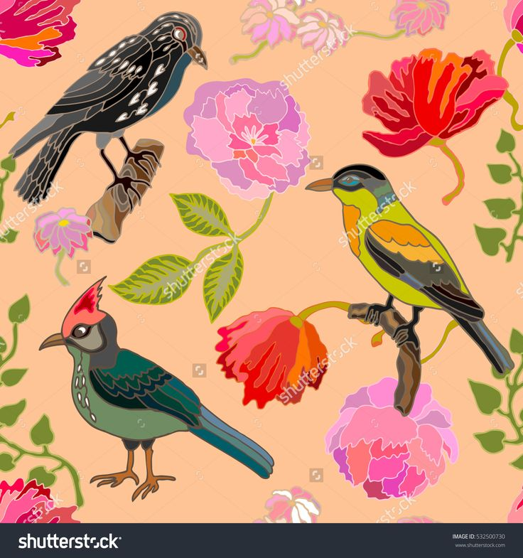 Japanese garden. Seamless oriental pattern with Victorian motifs. Blooming summer poppies and peonies, leaves and birds. Vintage textile collection. Colorful on pink.