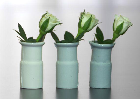 Modern small vases, mini porcelain vases, set of 3, contemporary vases, miniature vases, white miniature vases, industrial design vases