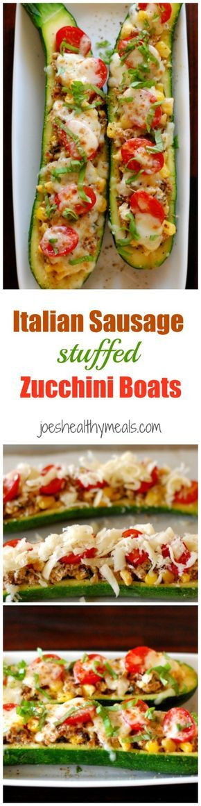 Italian sausage stuffed zucchini boats. This recipe is a delicious way to serve zucchini, either as a main dish or cut up for an appetizer.   joeshealthymeals.com