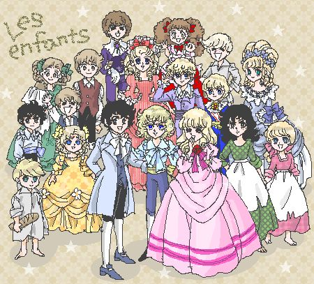 "Everyone in ""la Rose de Versailles"", children version."