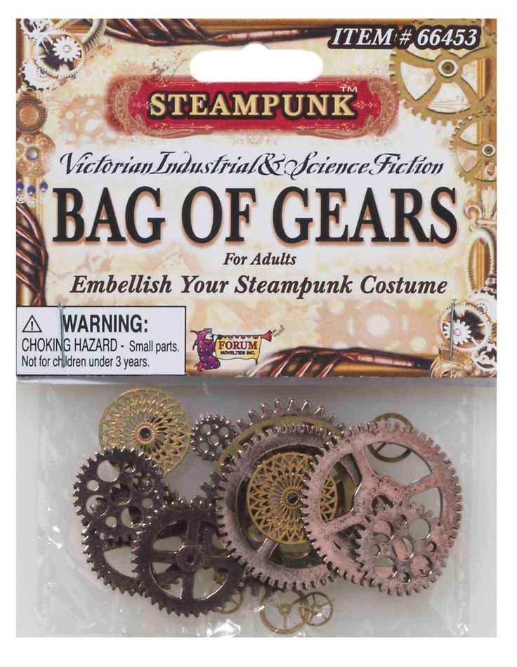 Steampunk assorted bag of gears will allow you to embellish your costumes and props with the signature look of the Victorian Industrial trend so popular today. Box Dimensions (in Inches) Length : 16.0