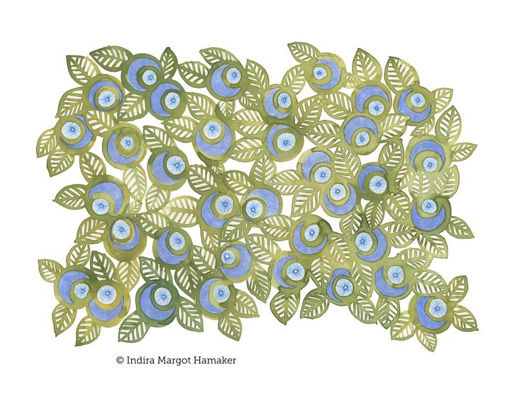 'Blue and Green Berry' illustration, pattern, print by Indira Hamaker