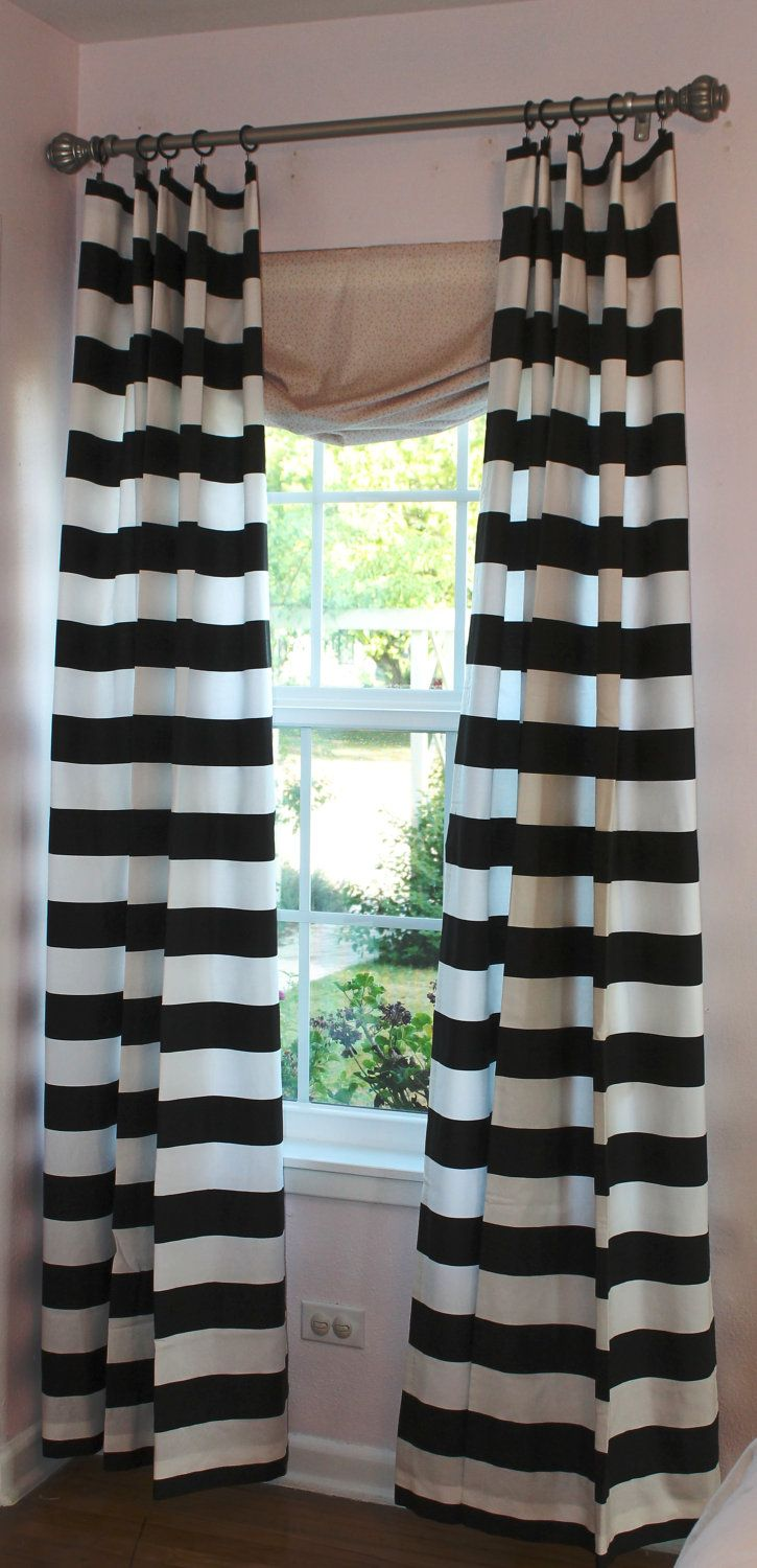 "3"" Black and White Horizontal Stripe 84"" Curtain Panel. $67.50, via Etsy."