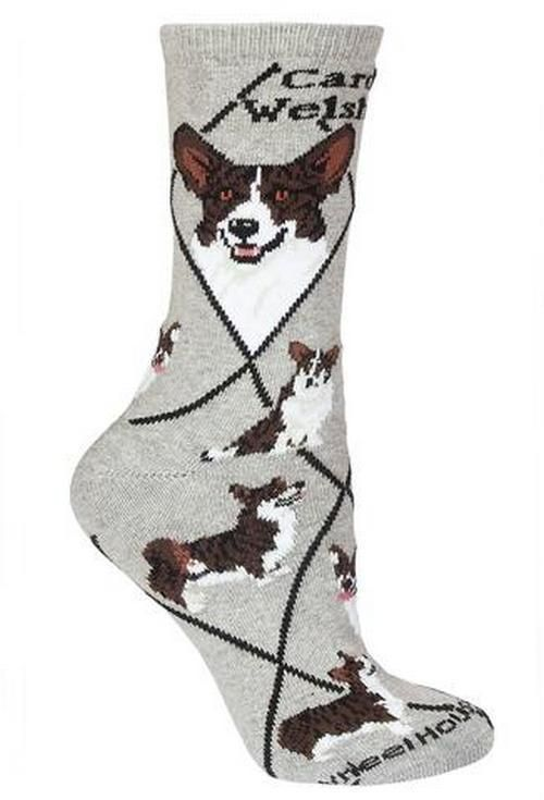 Tri Color Black Welsh Corgi Breed Puppy Dog Novelty Socks Adult Gray Wheelhousedesigns Novelty Corgi Breeds Welsh Corgi Cardigan Welsh Corgi