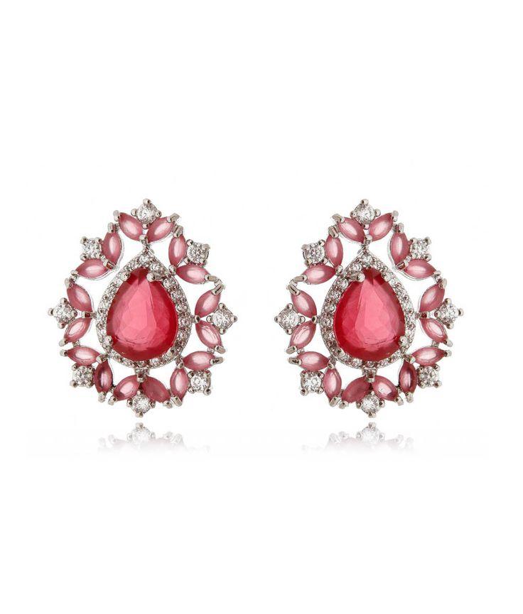 Brinco luxuoso de gota rubi com rodio semi joias fashion online