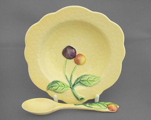 Carlton Ware preserve dish & matching spoon, Cherry, yellow 1935-51
