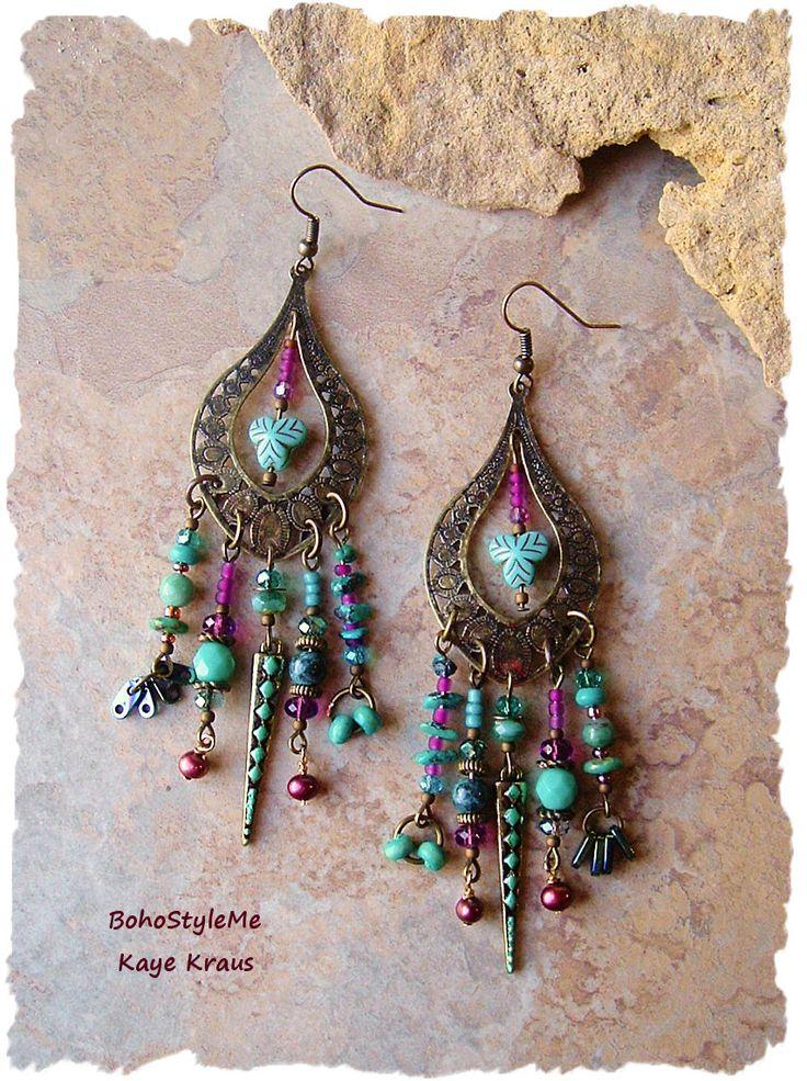 Urban Gypsy Assemblage Earrings, Colorful Bohemian Jewelry, Long Boho Chandelier Earrings, BohoStyleMe, Kaye Kraus by BohoStyleMe on Etsy