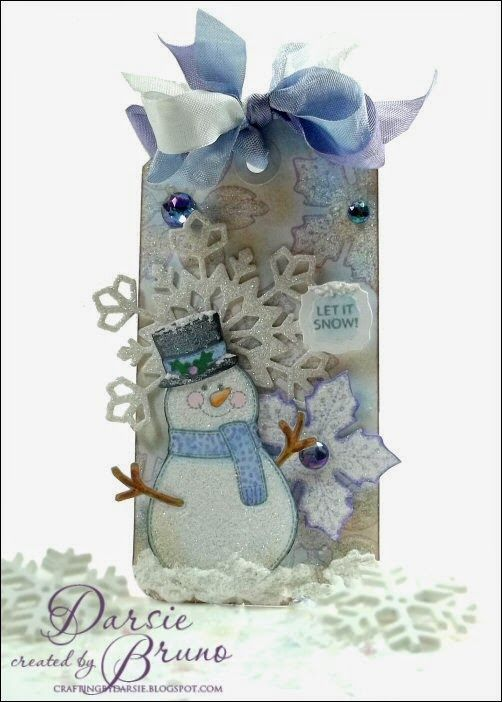 Darise Bruno: Crafting with Darsie: Applique Snowman... - 6/7/14.  (JustRite: Applique Christmas Labels One.  Spellbinders: 2013 Snowflake Pendant).  (Pin#1: Christmas: Tags... Pin+: Christmas: Snowmen/...).