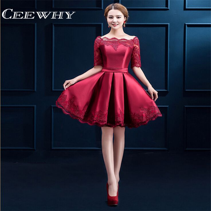 Cocktail Dresses Jersey Women Girls Graduation Dress Homecoming Embroidery Knee Length Party A-line Evening Dress Short Sleeves