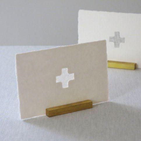 西島和紙工房 楮 透かしポストカード cross 1枚入 - WACCA ONLINESHOP