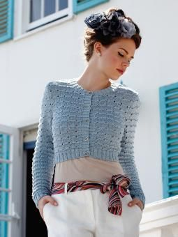 Tourmaline - Knit this womens cropped cardigan from the Truesilk Collection, designed by Martin Storey using the sumptuous yarn, Truesilk (mulberry silk)...