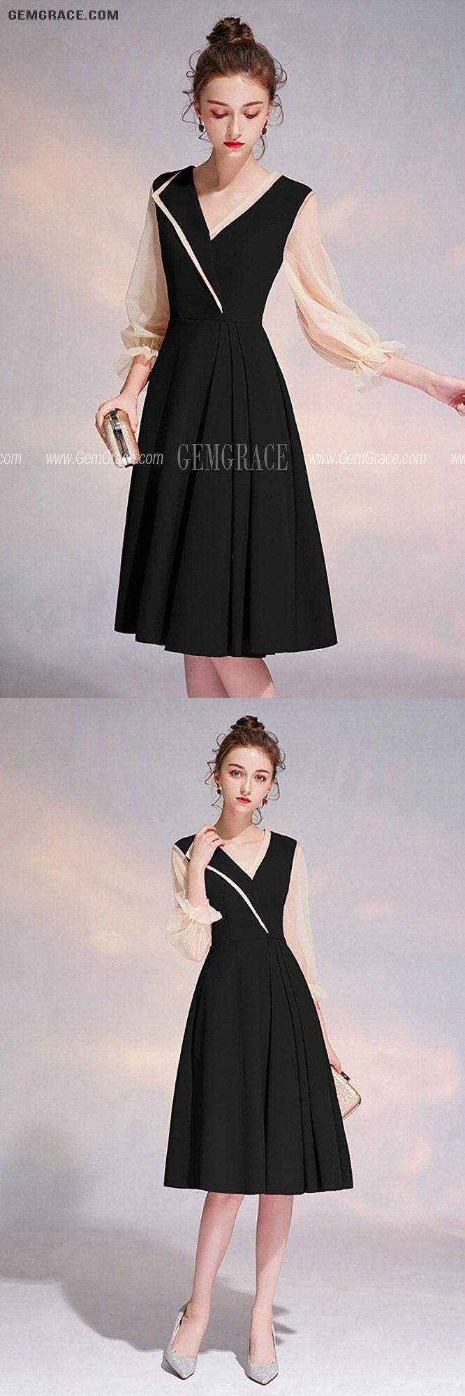 67 19 Elegant Black Vneck Knee Length Party Dress With Sheer Sleeves Htx97062 Gemgrace Com Homecoming Dresses Backless Homecoming Dresses Homecoming Dresses Short Black [ 2000 x 666 Pixel ]