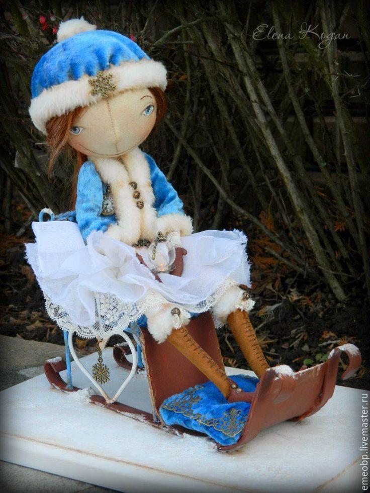 Купить Снежана. - голубой, Снег, зима, снежная зима, санки, фонарь, свеча, авторская кукла