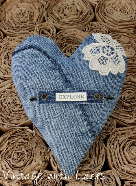 Upcycled denim jeans stitched hearts featured at Talk of the Town at www.knickoftime.net