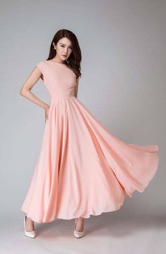 94eed09c8ece Chic and feminine , this Pink long dress is crafted with Soft chiffon,  featuring boat neckline front and Deep V back, Fitted waist and flared  skirt make ...