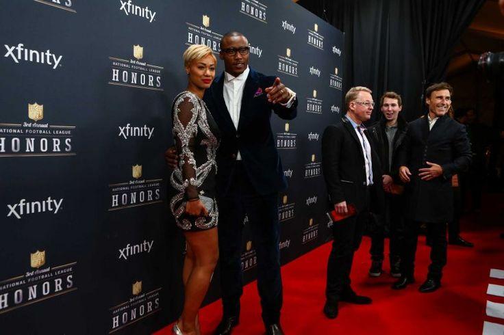 NFL Brandon Marshall Sexy   Michi Marshall rocks sexy Alyce Paris dress on NFL Honors red carpet