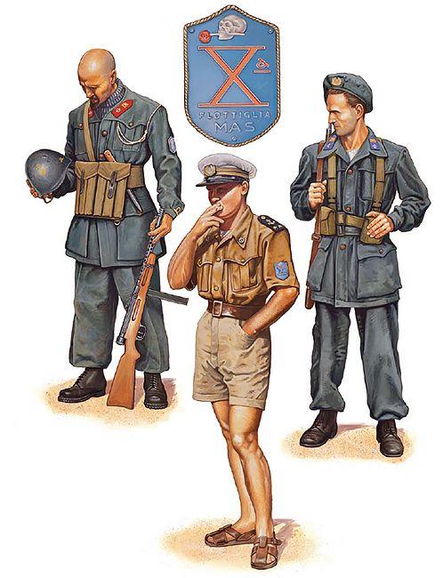 """Xª MAS Flotilla; Italy, 1944: • Guardiamarina, 'Barbarigo' Battalion; Anzio, early 1944 • Sottotenente, assault craft squadron; San Remo, summer 1944 • Marò, Divisione Decima; Piedmont, autumn 1944"", Mark Stacey"